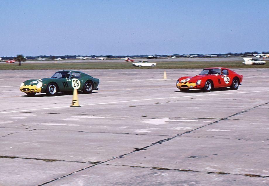 Pair of Ferrari 250 GTO models at 1963 Sebring 12 Hours race