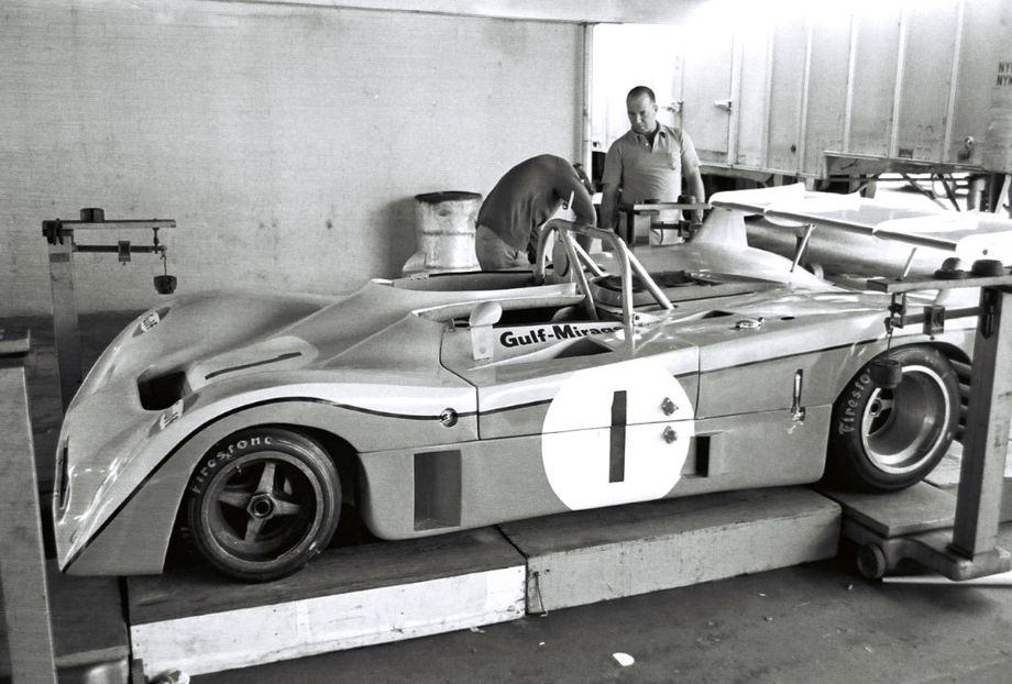 The Bell - Ganley Mirage going through tech inspection.  The car would be plagued with sagging front body panels that necessitated reinforcement with a steel bar adding weight to an already too heavy car.  Louis Galanos photo.