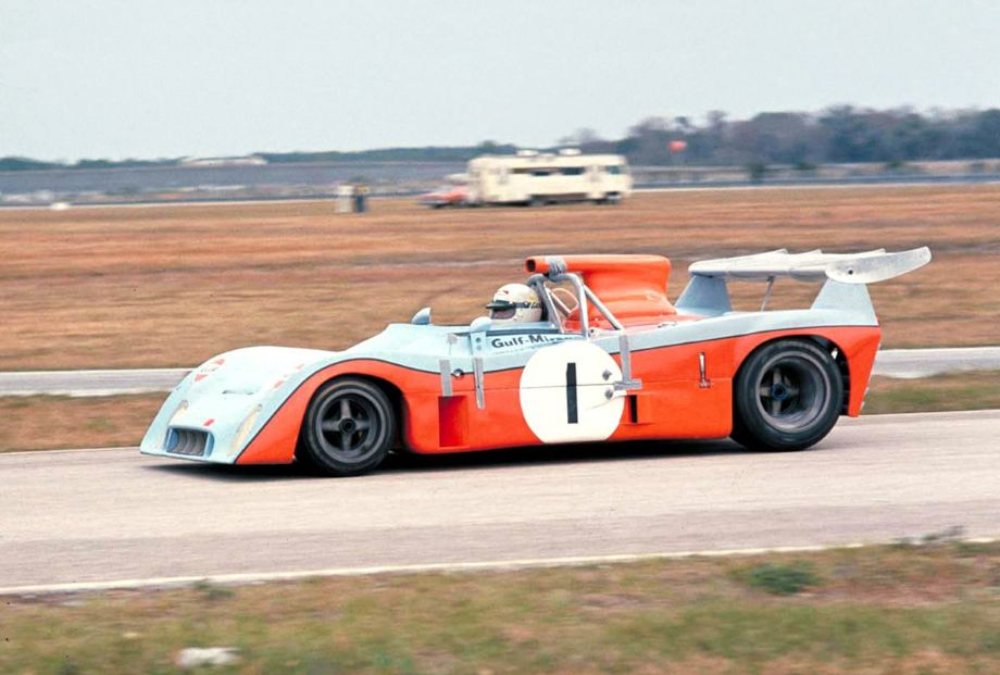 Howden Ganley drives the Gulf Mirage M6 Ford that captured the pole position.  It led going into the first lap of the race but almost immediately began to suffer a variety of mechanical ills.  It was a DNF.  Ford Mortorsports History photo.