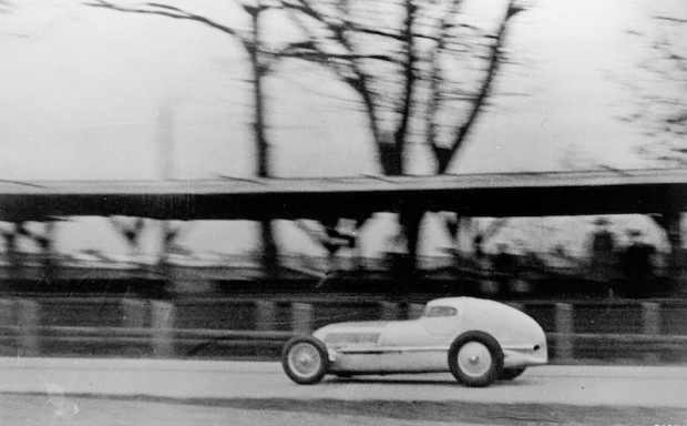 Caracciaola testing the Mercedes-Benz W25 'racing sedan' in December 1934.