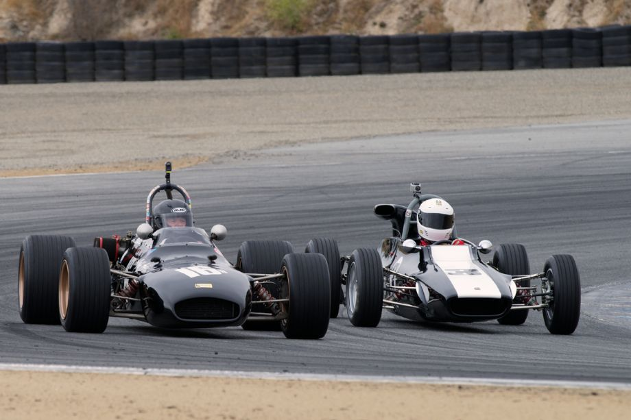 Left is Jeffrey Anderson's 1969 Brabham BT 29, right the 1970 Titan Mk.6 driven by Kristopher Matheson in turn.
