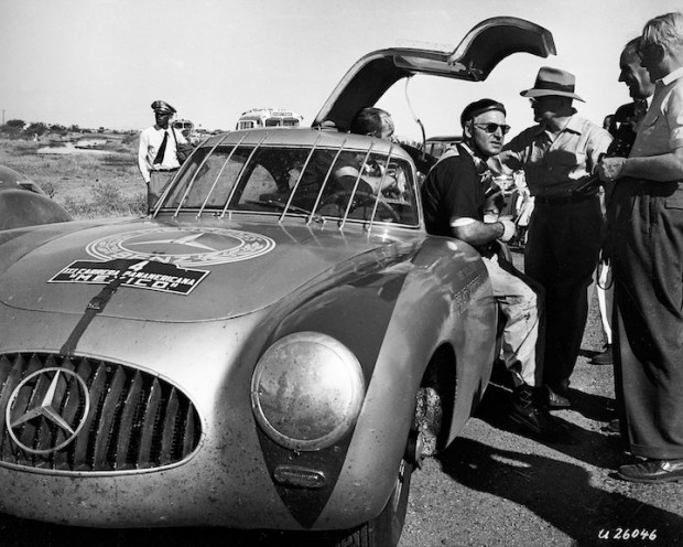 Winners: Karl Kling and Hans Klenk (hidden) won the third Carrera Panamericana Mexico in 1952 driving a Mercedes-Benz 300 SL (W 194).