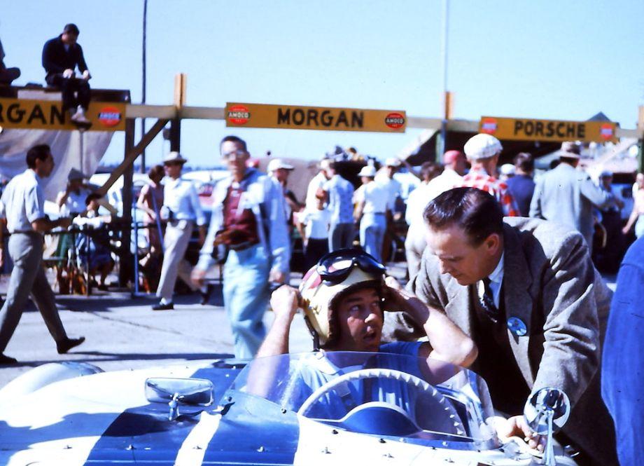 Walt Hansgen trying on the Corvette