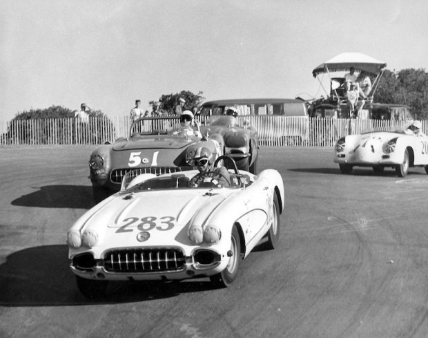 Andy Porterfield in his Corvette starting down the hill at Laguna Seca in 1957.