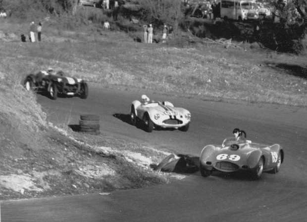 Dan Gurney won in Frank Arciero's 4.9 Ferrari at Paramount Ranch on December 8, 1957. In this photo, Dan leads Bob Oker in Joe Lubin's Aston Martin DB3S and Harold Dolden in the Sparks & Bonney Special. Oker finished 18 second behind Gurney and Dolden was a dnf. (Photo: Allan Kuhn)