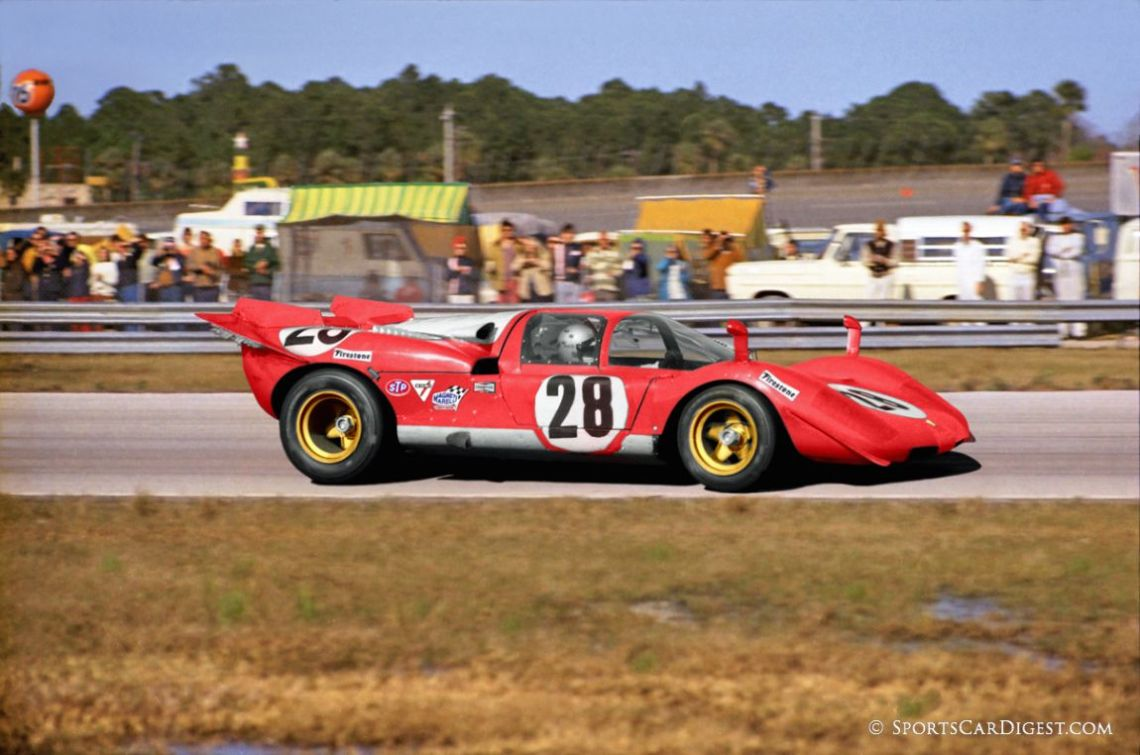 Mario Andretti driving one of three factory Ferrari 512s entered at Daytona in 1970. Lou Galanos photo.