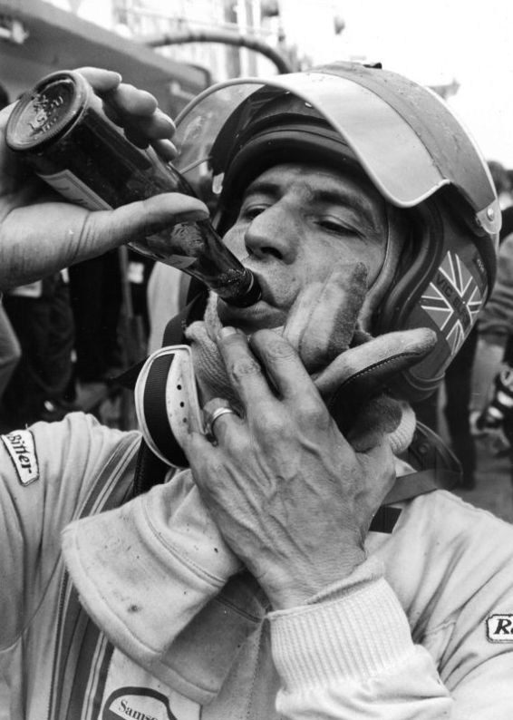 Vic pausing for a quick refreshing drink at Nürburgring in 1971. He would go on to win the 1000 km race with co-driver Kurt Ahrens, Jr. while driving a Porsche 908/03. Photo courtesy of Vic and Anita Elford.