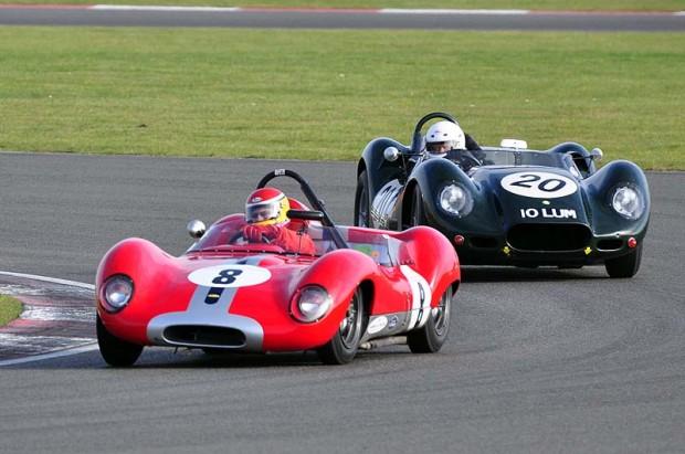 SRA Class Winner Alan Cosby - 1958 Lola Mk1 leads Phil Bennett's 1958 Lister Jaguar