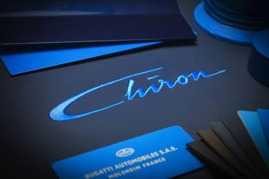 An abstracted form of Louis Chiron's signature will be found as stitching on the headrest of the new Bugatti super sports car.