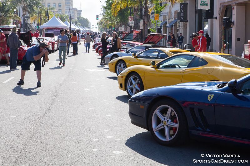 Cavallino Rampantes were lined up to be photographed on Colorado Blvd.