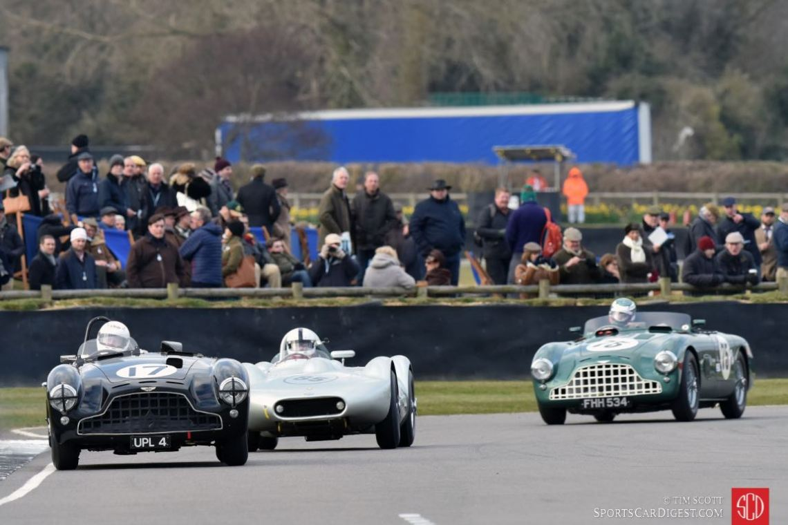 1952 Aston Martin DB3, 1955 Lister-Bristol 'flat iron' and 1952 Aston Martin DB3