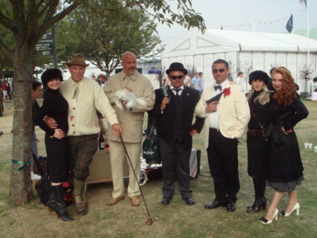 The Bond Boys...and girls. Auric Goldfinger, Ernst Stavro Blofeld, OddJob and James Bond and girls. This group comes to the Revival every year as part of the party atmosphere.