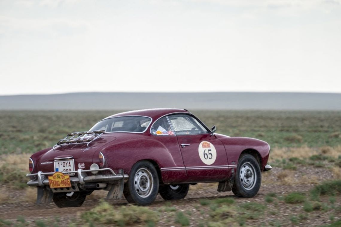 Car 65. Patrick Sommer(D) / Christine Sommer(B)1966 - Volkswagen Karmann Ghia1995, Peking to Paris 2016., Peking to Paris 2016. Day 03. Erenhot to camp.