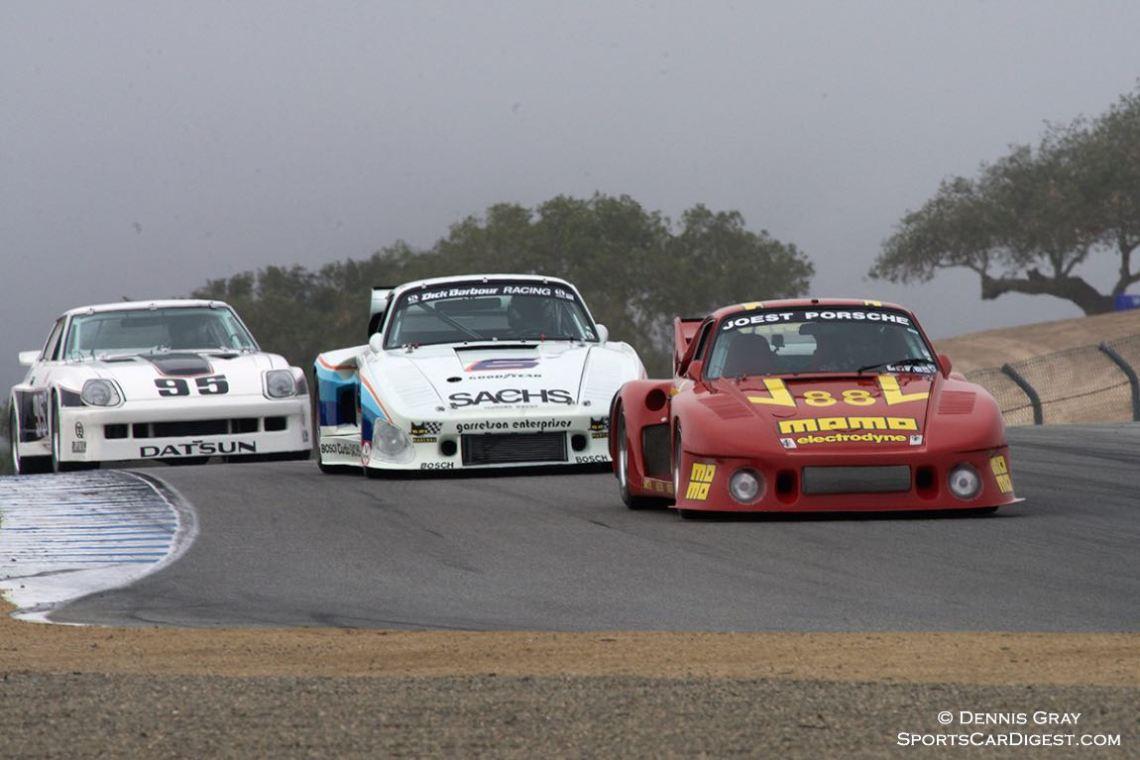 William 'Chip' Conner's 1980 Porsche 935 followed by Jeff Lewis' 1980 Porsche 935 K3 and J. John Murray's 1980 Datsun 280ZX