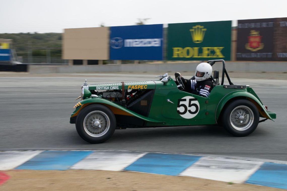 Karim Marouf's 1951 MGTD Special in turn eleven Sunday morning.