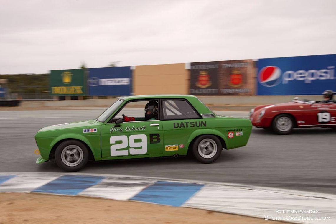 Bill Ockerlund's Datsun 510 in turn eleven Sunday afternoon.