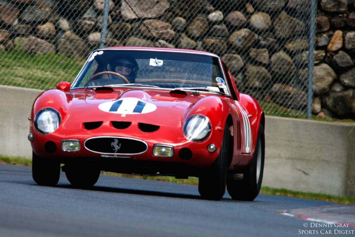 Sandra McNeil in her 1962 Ferrari 250 GTO mid turn twelve.
