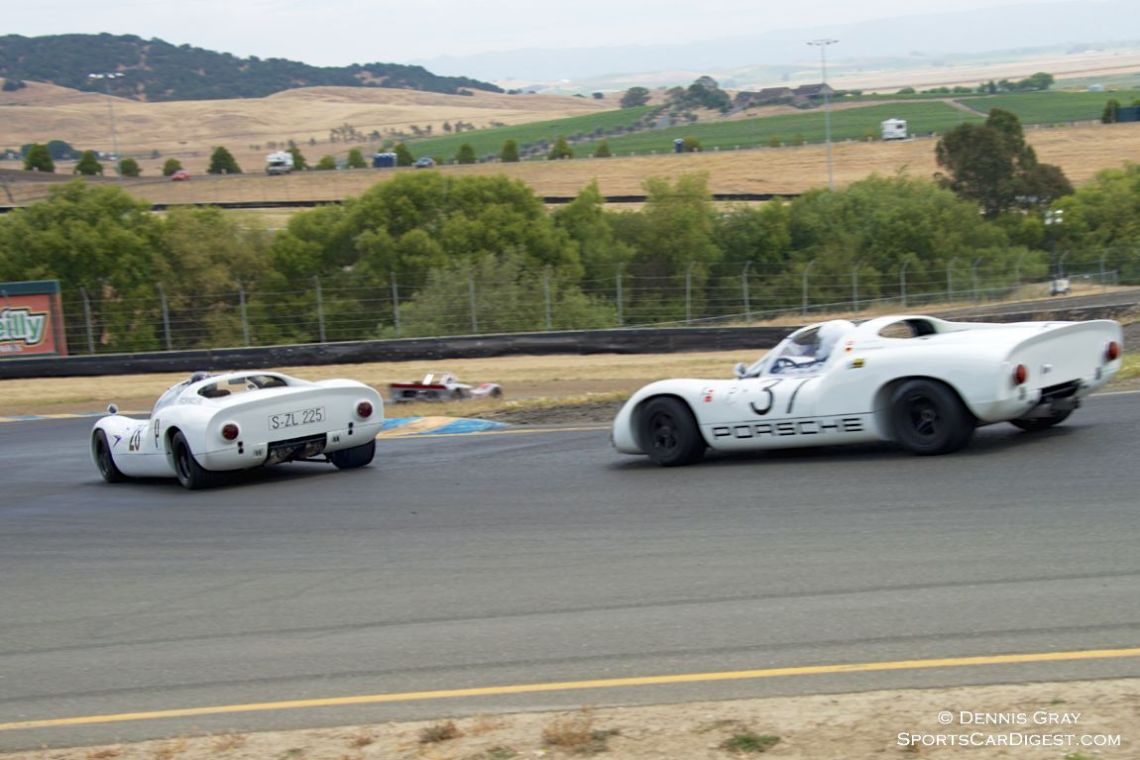 Stephen Thein's 1967 Porsche 910 leads Reg Howell's 1967 Porsche 910