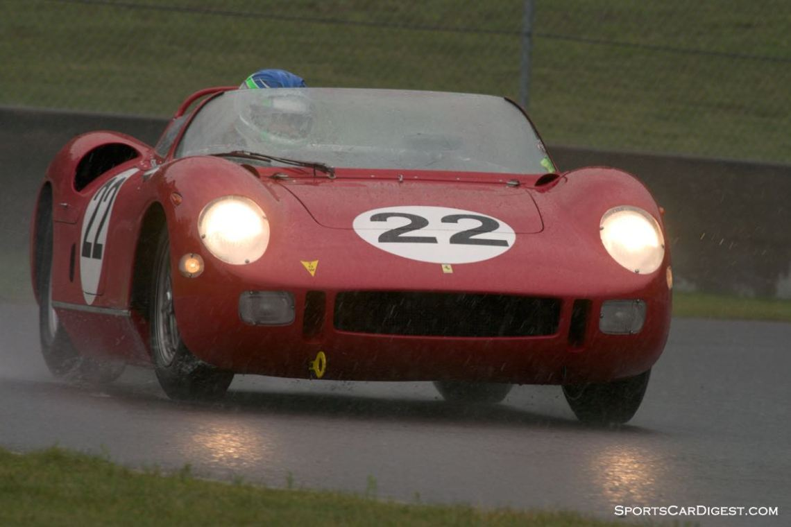 2014 Mont Tremblant. Stephen Hill Ferrari 250P exits turn twelve during Sunday's the monsoon.