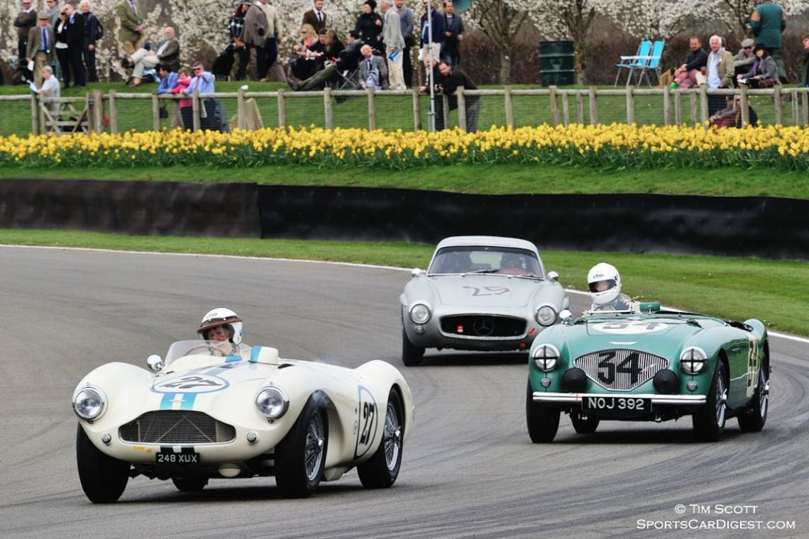 1955 Aston Martin DB3S, 1953 Austin-Healey 100S and 1955 Mercedes-Benz 300 SL Gullwing