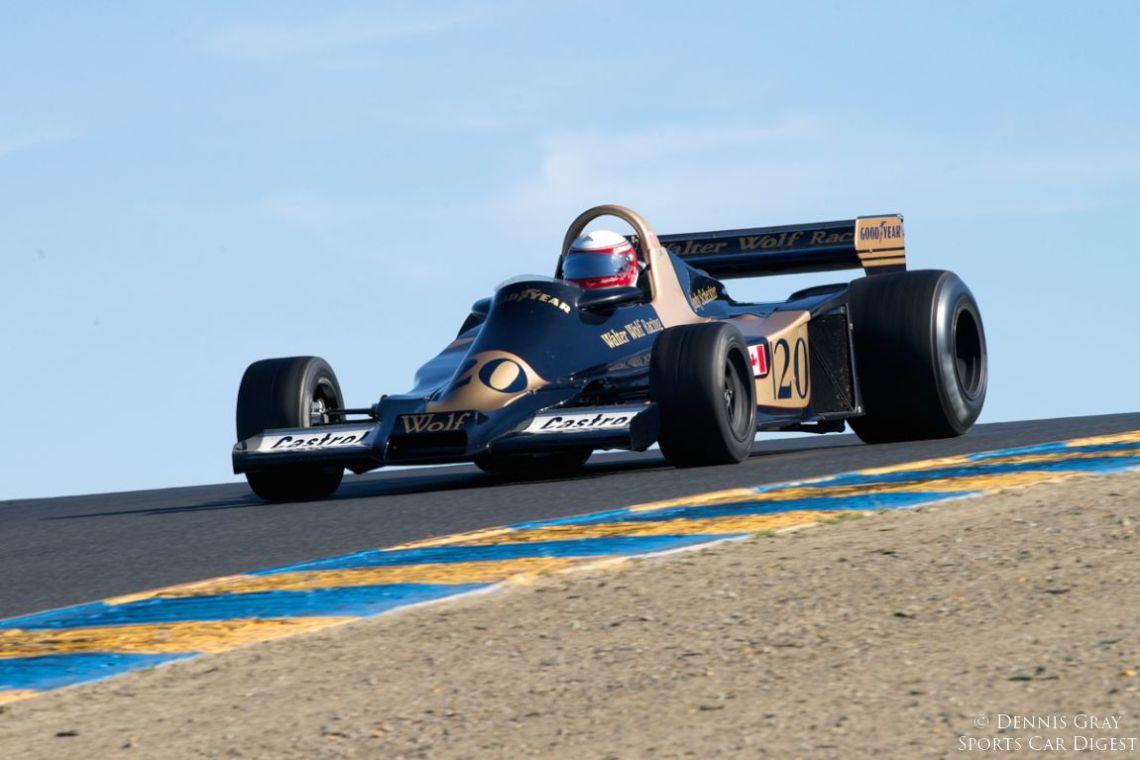Eddie Lawson's 1977 Wolf WR4 into turn four.