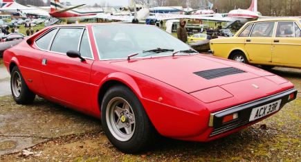 Ferrari 308 GT4 at the Brooklands Museum New Year's Day Classic Gathering 2015