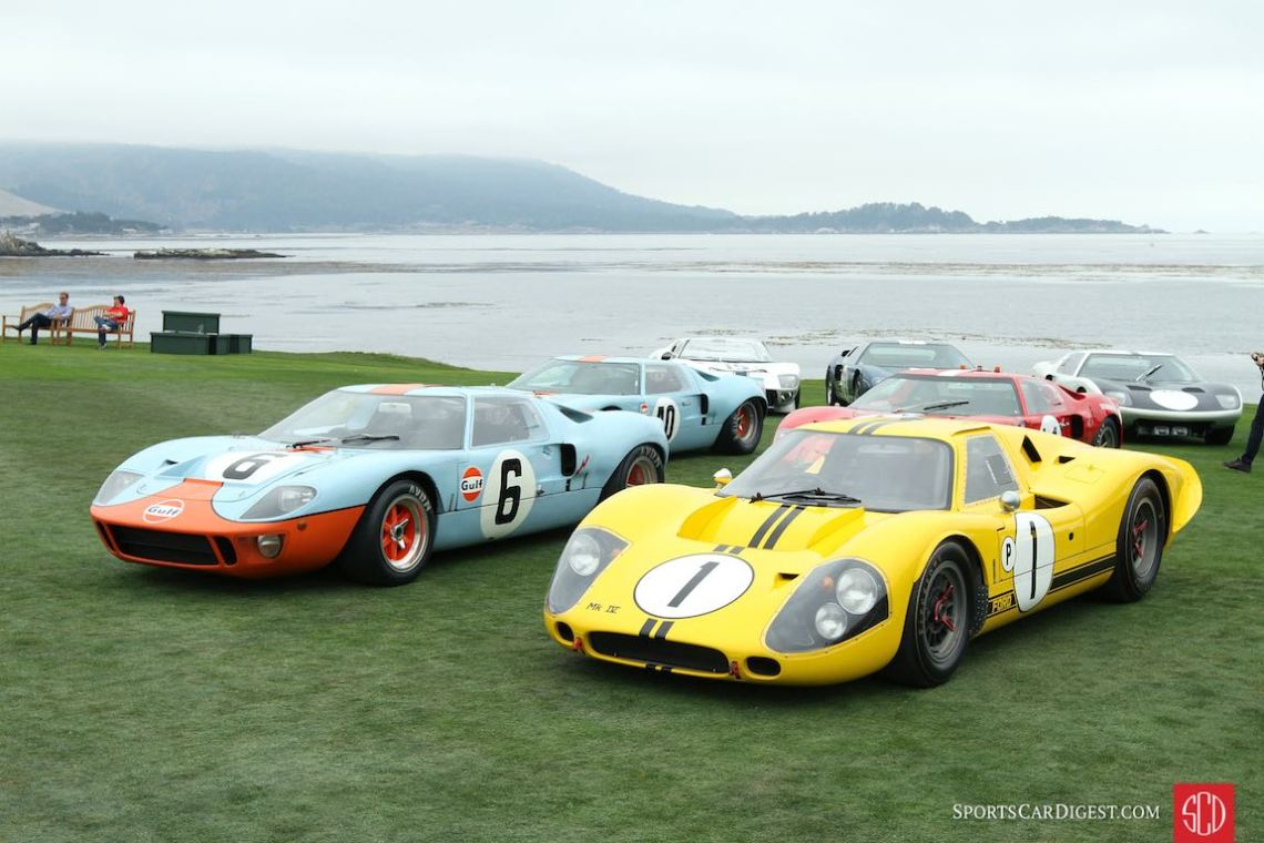 1968 Ford GT40 P/1075, winner of the 24 Hours of Le Mans in 1968 and 1969, and Ford GT40 Mk IV