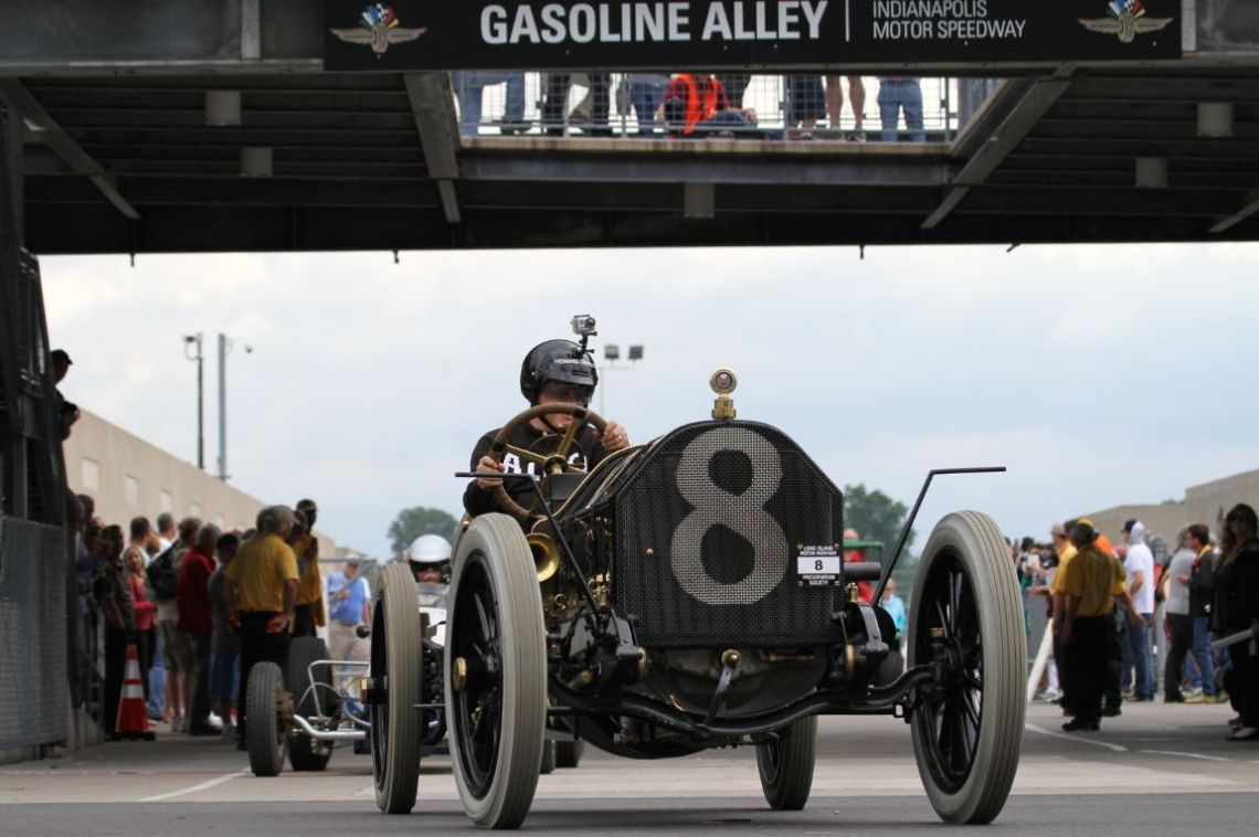 1909 American Locomotive coming out of Gasoline Alley.