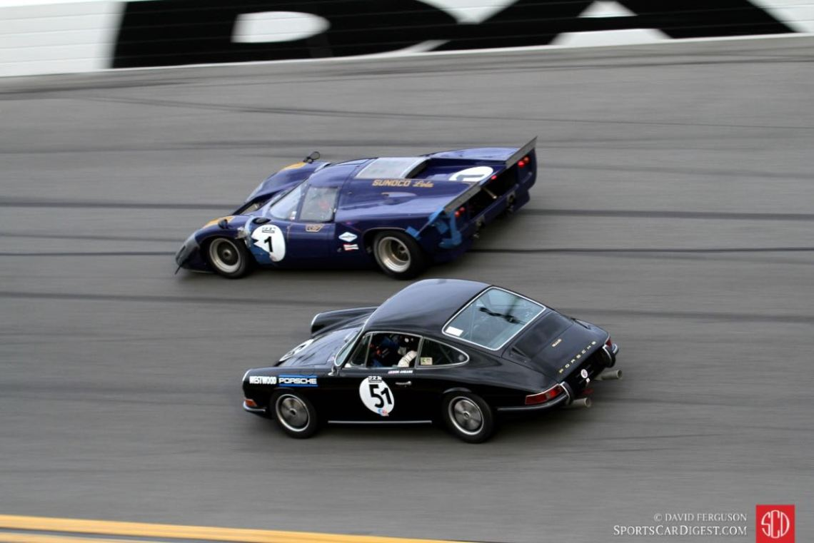 Don Ahearn, 67 Porsche 911 being passed by 69 Lola T70.