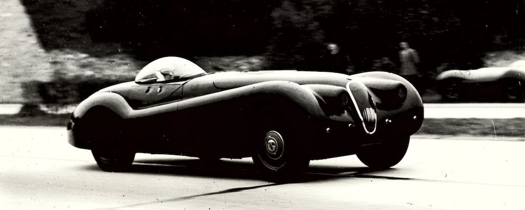Norman Dewis in the modified Jaguar XK120 MDU 254