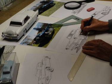 AFAS artist Ken Eberts' early sketches for the 2013 Concours commemorative poster. (photo: Ken Eberts/Pebble Beach Concours d'Elegance)