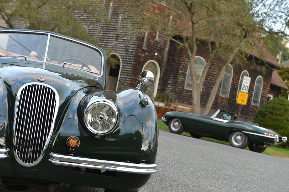 Jaguar XK120 and E-Type at Welcome Party