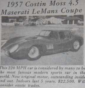 Costin 1957 Maserati 450S Coupe