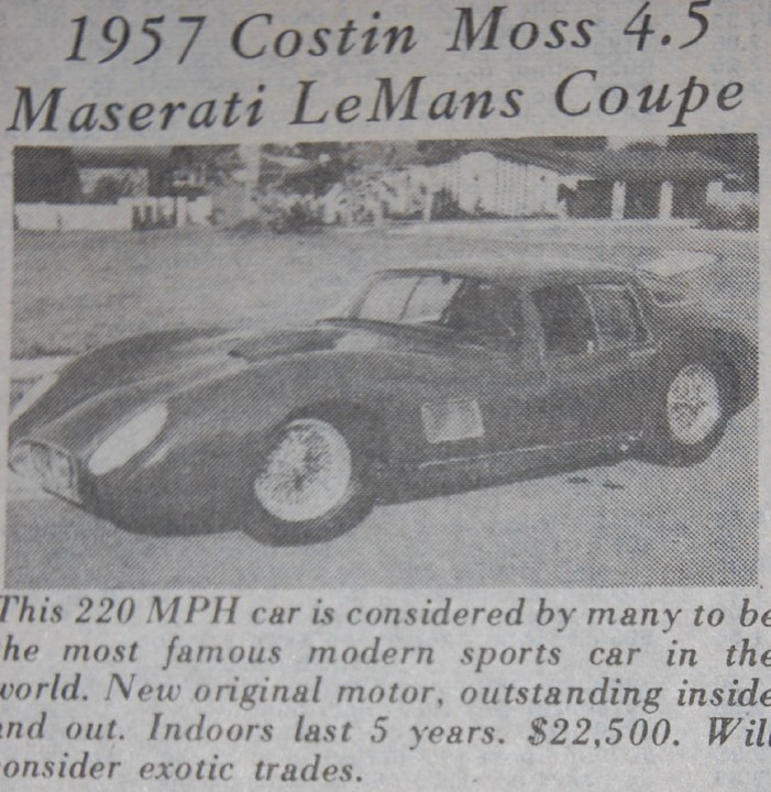 1957 Maserati 450S Coupe - Classic Cars for Sale