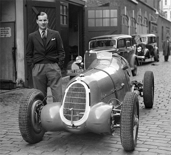 Richard Seaman with Ruesch's Tipo C (chassis number 50013) in his London mews