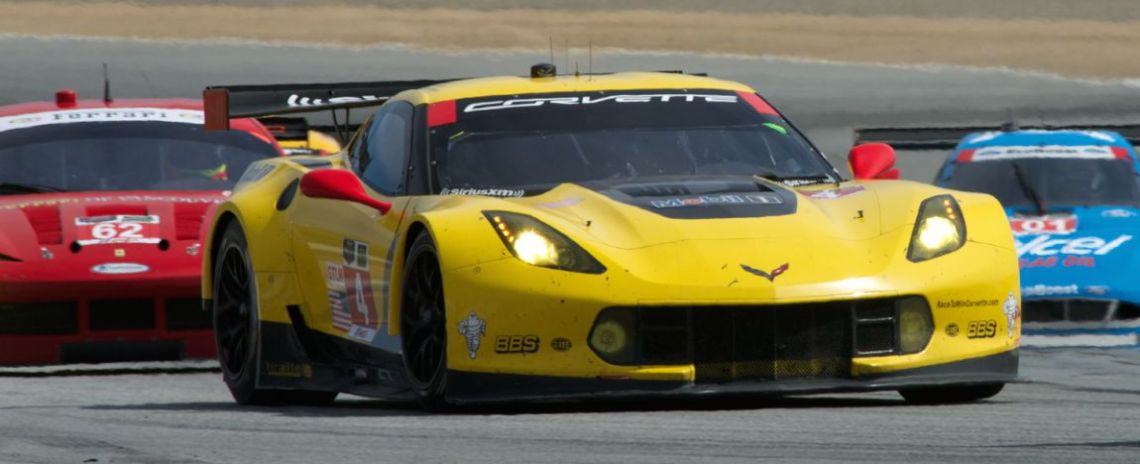 Corvette Racing's C7-R Chevrolet Corvette in turn eleven.