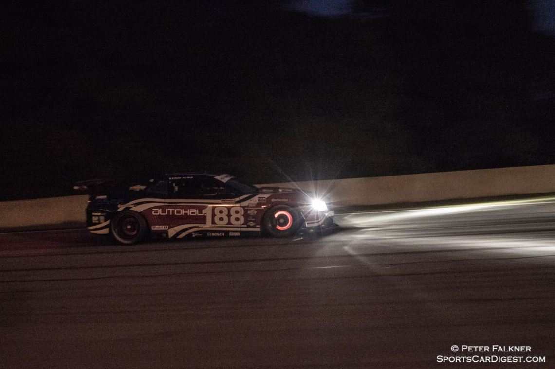 Sicotte, 10 Chevrolet Camaro GT.R generating some heat going into turn 6 during the Saturday night race