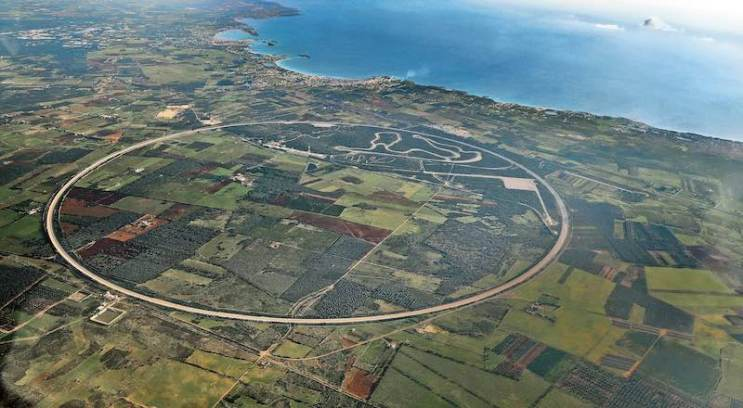 The Nardo Technical Center from above with the high-speed circular track that is unique worldwide with a length of 12.6 kilometres