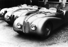BMW 328 Mille Miglia Roadsters at the 1st Italian Mille Miglia Grand Prix in Brescia