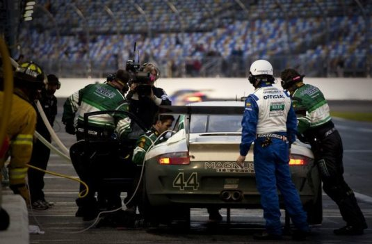 Pit Stop for the #44 Porsche GT3
