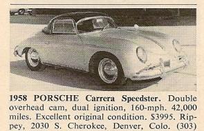 Road & Track Porsche Carrera Speedster for sale