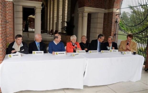 <strong>From left, Sam Posey, Roger Colson, Tom Burnside, Denise Mcluggage, Francois Sicard, Luigi Chinetti Jr., Dick Fritz and Master of Ceremonies Ed Lucas.</strong.
