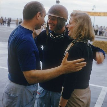 Juan Manuel Fangio, here with Peter Collins are sporting different styles of Suixtil race pants.