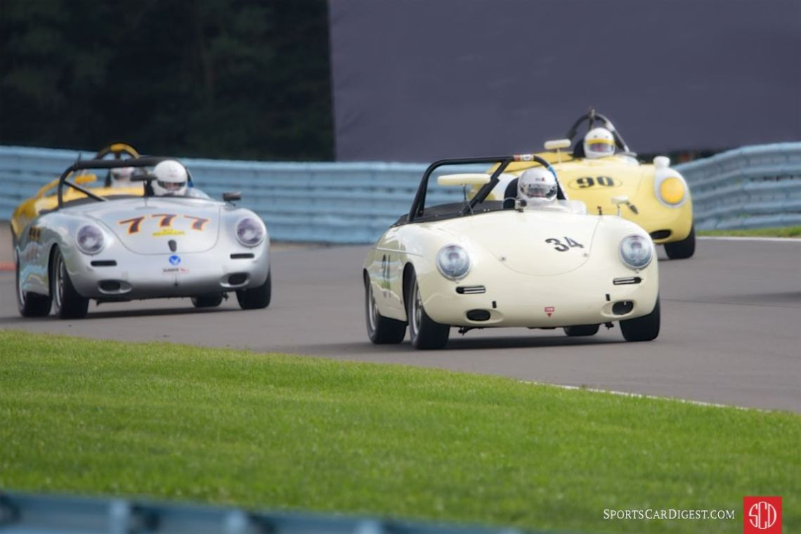 Tight formation of Porsche 356s