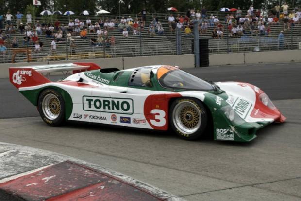 Ernie Spada takes his Porsche 962 into Turn 1