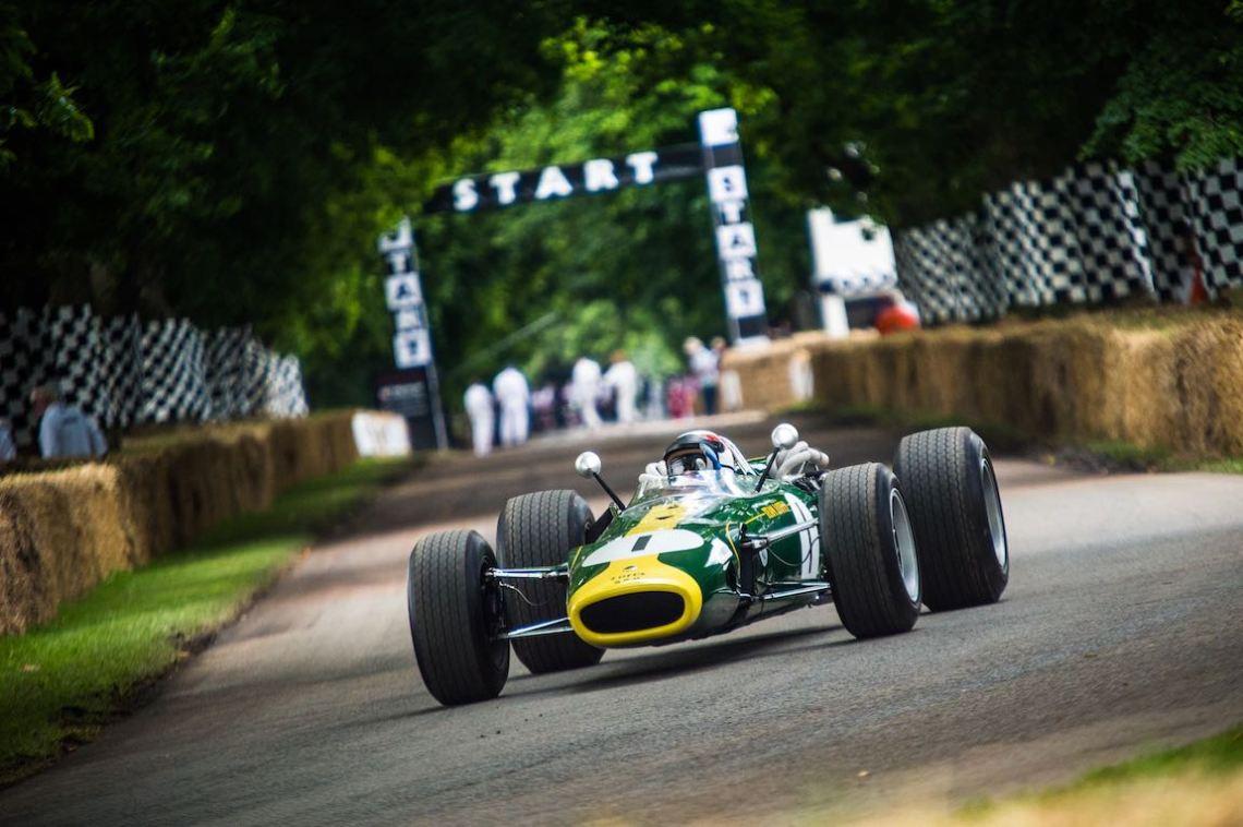 Sir Jackie Stewart in the Lotus-BRM 43