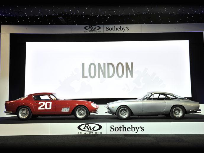 Top-sellers at RM Sotheby's 2015 London sale (L-R): 1958 Ferrari 250 GT Berlinetta Competizione 'Tour de France' and 1964 Ferrari 250 GT/L Berlinetta 'Lusso' (credit – Tim Scott © 2015 courtesy RM Sotheby's)