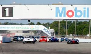 The start of the 2009 HSR Sebring Endurance Challenge vintage car race held at Sebring International Raceway