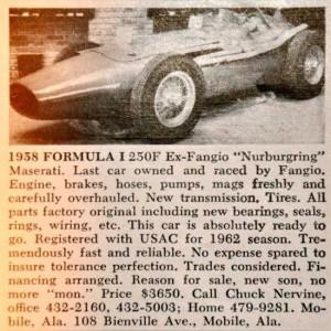 Maserati 250F – Classic Cars for Sale