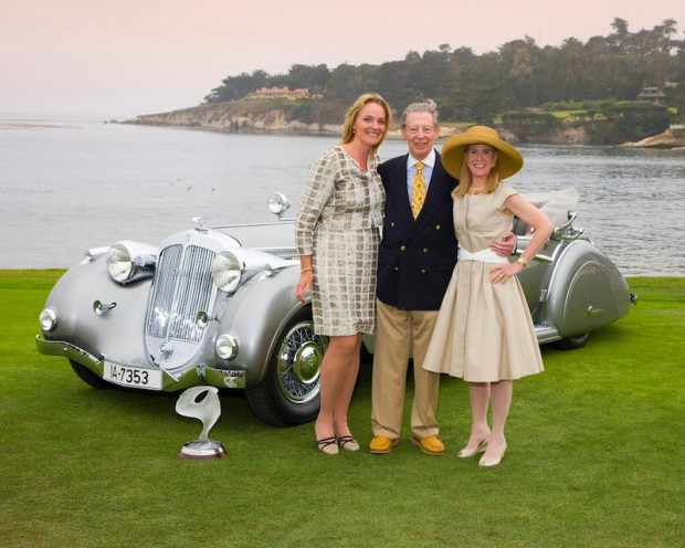 Owner Robert M. Lee with Anne Brockinton (R) and Pebble Beach Concours Chairman Sandra Button, in front of the 1937 Horch 853 Voll & Ruhrbeck Sport Cabriolet that won Best of Show at the 2009 Pebble Beach Concours